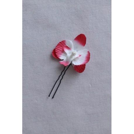 4 épingles de cheveux avec des orchidées fuchsia et blanc pour mariage