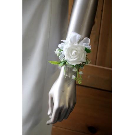 Bracelet fleurs Mariage rose blanche, petites lys, strass, muguet