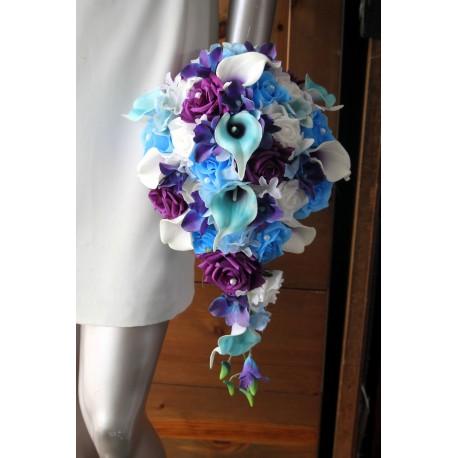 Bouquet de Mariée Tombant arums orchidées bleu violet