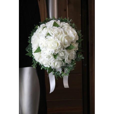 Bouquet de mariée ivoire et vert perles