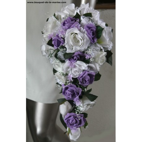 Bouquet De Mariee Tombant Theme Parme Avec Roses Perles Et Strass