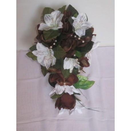 bouquet de la mariée tombant chocolat ivoire