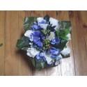 Bouquet de Mariée Rond thème bleu, ivoire avec hydrangea, roses