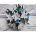 """Bouquet Mariée Rond """"camille"""" avec des lys, roses, perles et feuilles"""
