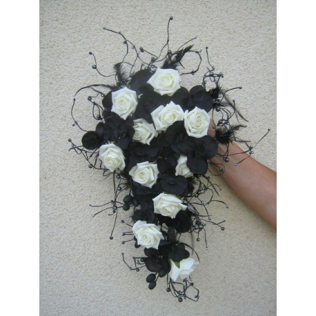 Bouquet mariée noir ivoire