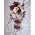 Bouquet de Mariée Cascade thème Orchidée Chocolat + belles roses