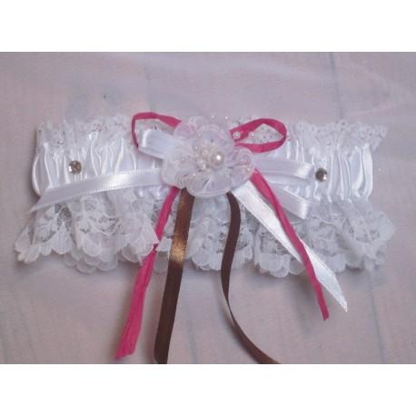 Jarreti re couleur blanc rose chocolat avec roses strass et perles bouquet de la mariee - Strass pour bouquet de mariee ...