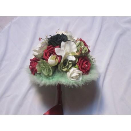 bouquet mariée bordeaux vert