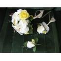 """LOT Mariage: Bouquet Rond """"Soleil"""" avec de belles roses et lys"""