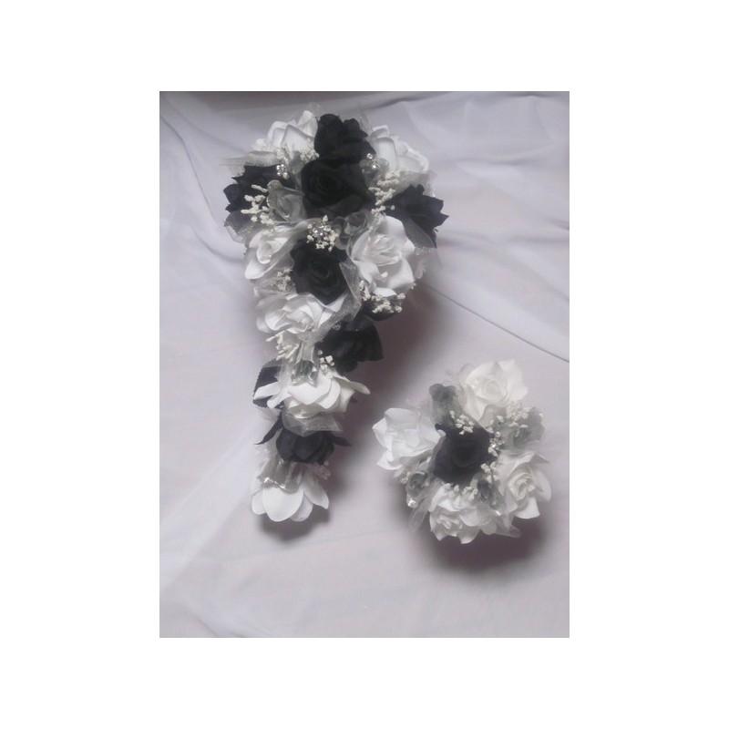 Bouquet de mariage cascade couleurs noir argent roses strass bouquet de la mariee - Strass pour bouquet de mariee ...