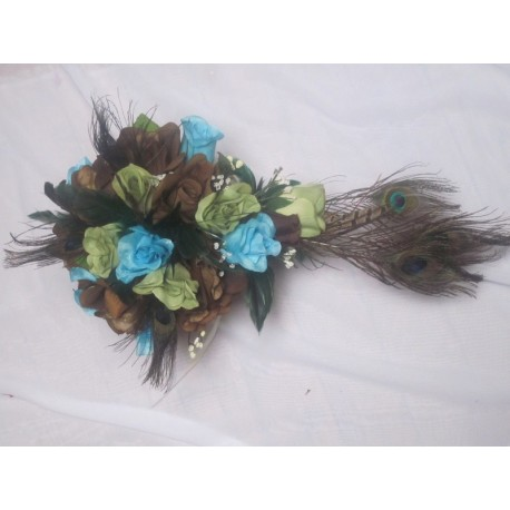 Bouquet Paon Chocolat Vert Turquoise