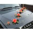 4 compositions florales de voiture de mariés avec choix couleurs!