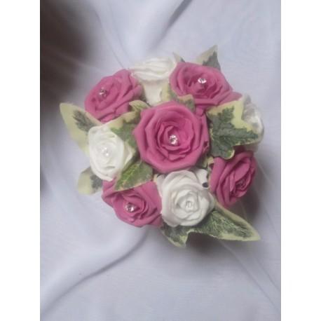 Bouquet demoiselle d'honneur fushia plumes