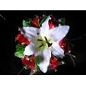 """Bouquet Mariée Rond """"Casablanca"""" avec roses, lys, rubans et tulle"""