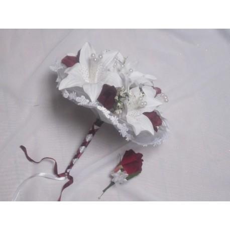 bouquet + boutonnière lys et roses