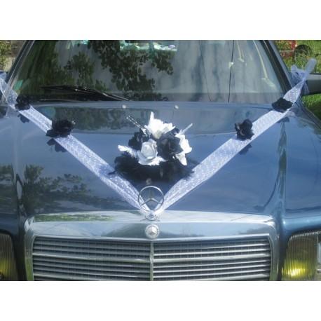 Décoration voiture mariage noir et blanc