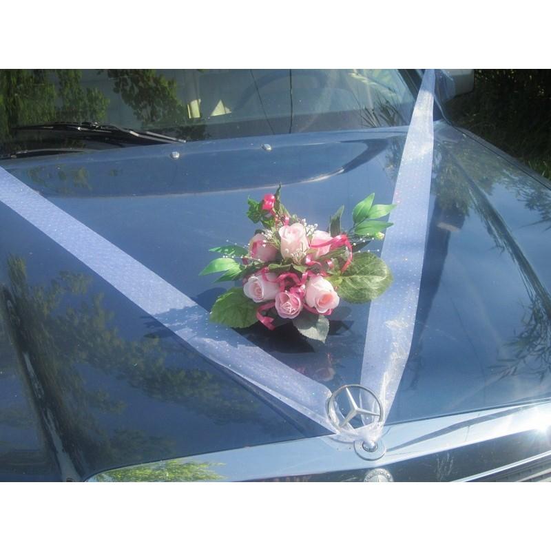 D coration de voiture pour mariage couleur rose ou bordeaux bouquet de la mariee - Decoration voiture mariage ventouse ...