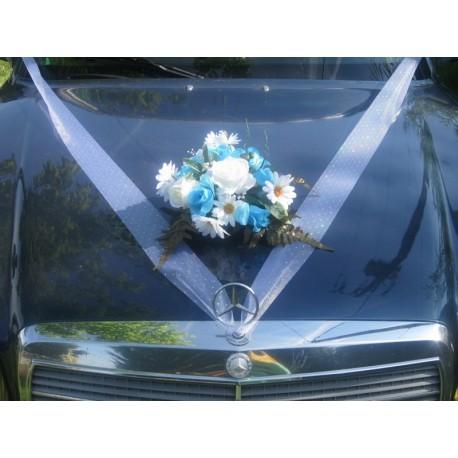 Décoaration voiture mariage turquoise