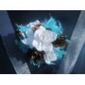 Décoration voiture mariage thème chocolat, turquoise avec plumes