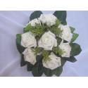 Bouquet de Mariée Rond thème ivoire vert avec des roses et feuilles