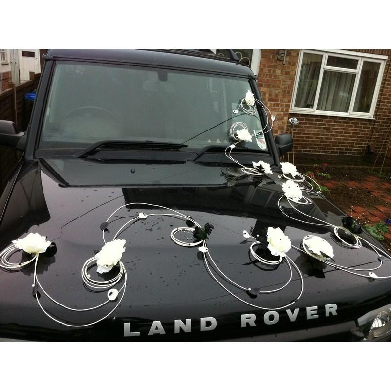 D coration de mariage pour voiture th me baroque avec - Decoration voiture mariage noir et blanc ...