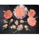 Lot Bouquets Fleurs Mariage Flamme orange avec belles roses et perles