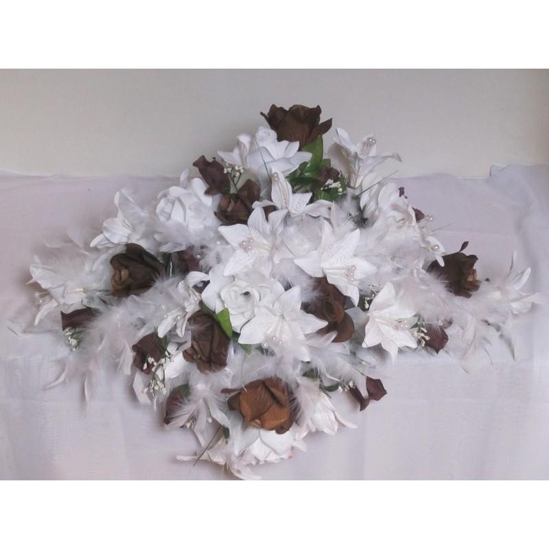 D coration mariage splendide avec belles roses lys plumes bouquet de la mariee - Soldes decoration mariage ...
