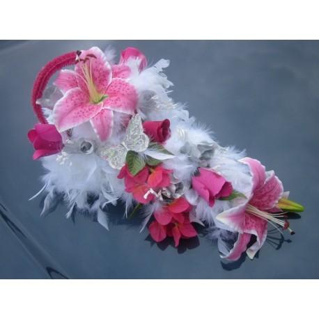 bouquet de voiture fushia et blanc
