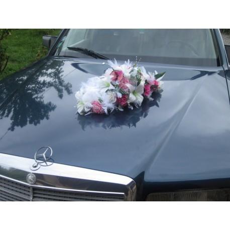bouquet de voiture blanc / rose / fushia