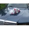 Décoration voiture pas cher pour mariage blanc / rose / fushia