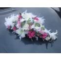 Décoration voiture splendide thème blanc / rose / fushia