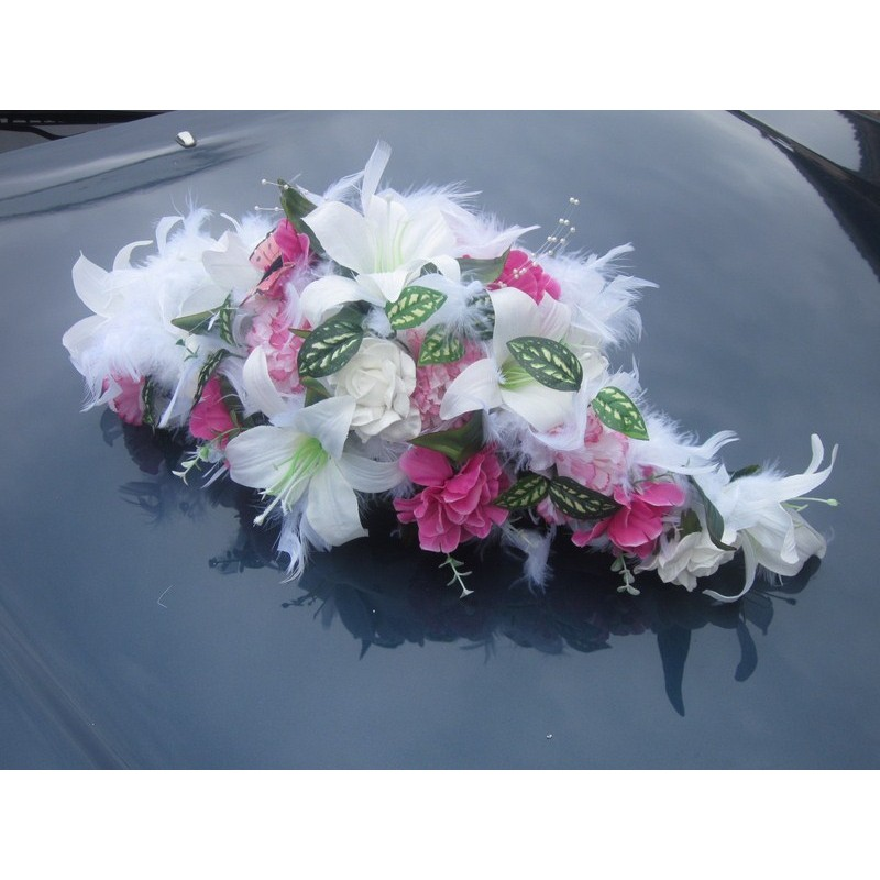 D coration voiture splendide th me blanc rose fushia bouquet de la mariee - Decoration table mariage fushia ...
