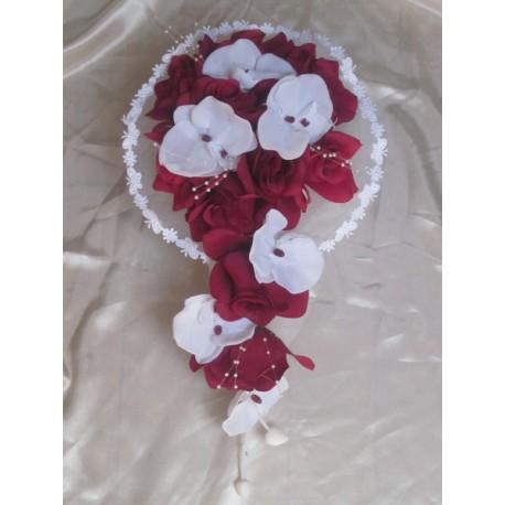 bouquet mariée bordeaux blanc orchidée
