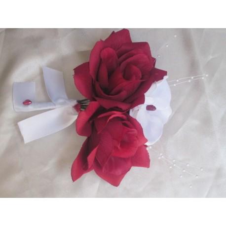 Bouquet bordeaux/blanc orchidée et roses
