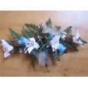 Composition florale pour table de mariage thème turquoise, chocolat