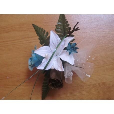 Composition table mariée 60cm turquoise / chocolat