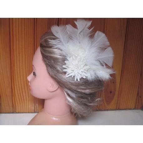 peigne de cheveux plumes ivoire
