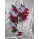 Bouquet de Mariage Original Rouge style Cascade avec des Roses