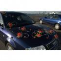 6 compositions florales pour voiture de mariage avec des roses