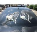 Décoration voiture pour mariage type Cœurs avec Perles & Roses