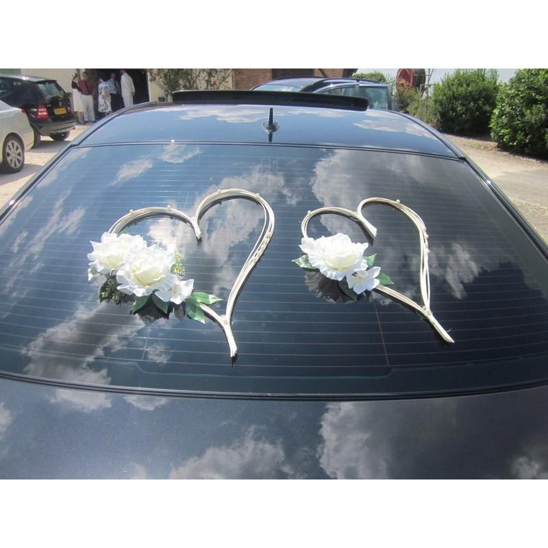 D coration voiture pour mariage type c urs avec perles roses bouquet de la mariee - Decoration voiture mariage ventouse ...