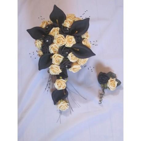 Bouquet mariée noir jaune