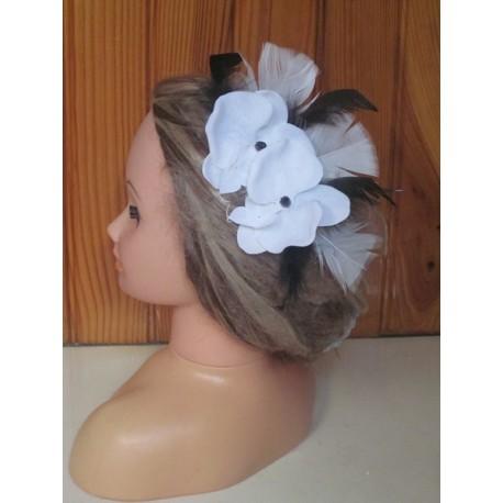 Peigne de cheveux orchidée noir et blanc