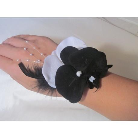 Bracelet des orchidées noir et blanc